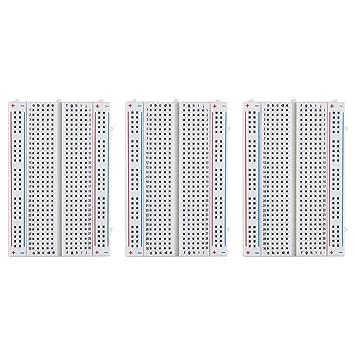ELEGOO 3 Piezas Breadboard Placa Prototipo Sin Soldaduras con 400 Puntos Realizado en PCB Junta Breadboard Proto Shield de Distribución Bloques de Conexión: ...