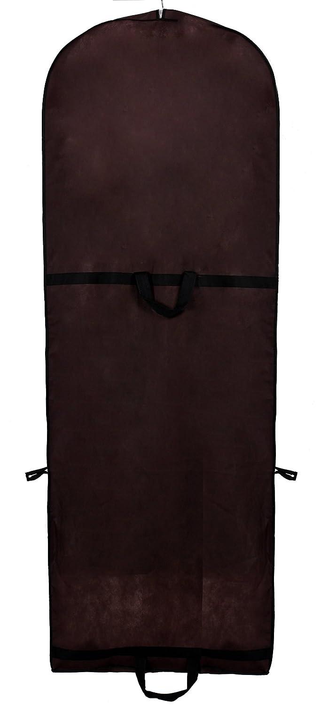 caf/é trajes abrigos 180 cm x 65 cm Bolsa de Ropa Protector para vestidos de novia o de fiesta TUKA Transpirable Funda de ropa TKB1001 coffee 2 accesorios bolsillos Bolsa portatrajes