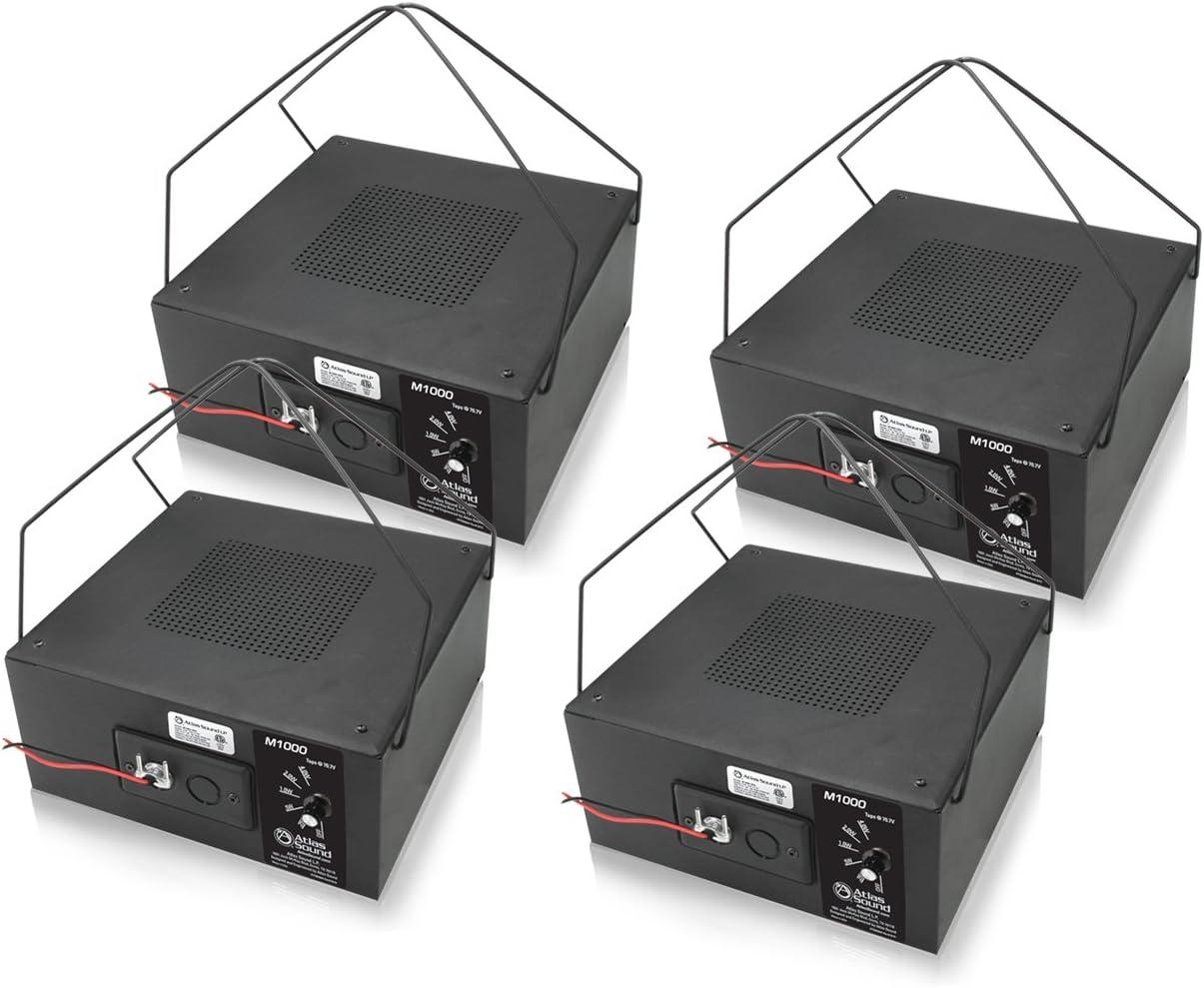 "Atlas Sound M1000 - 8"" Dual Cone Sound Masking Speaker with 70.7V-4W Transformer and Enclosure (Black, 4-Pack)"