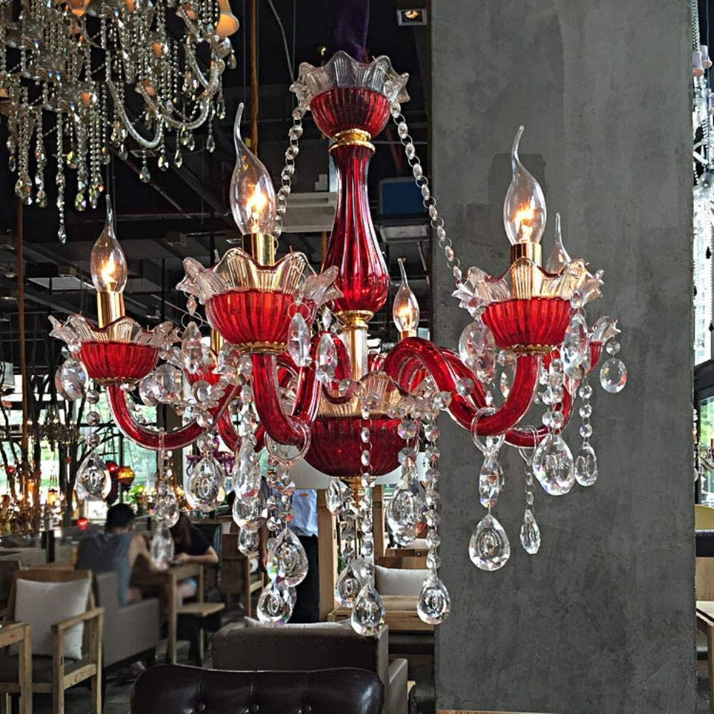 lámpara de cristal del dormitorio del hombre Cafe iluminación de los rojos de barras de color café internet luces para lámparas de techo al por mayor de hoteles creativos de la personalidad,