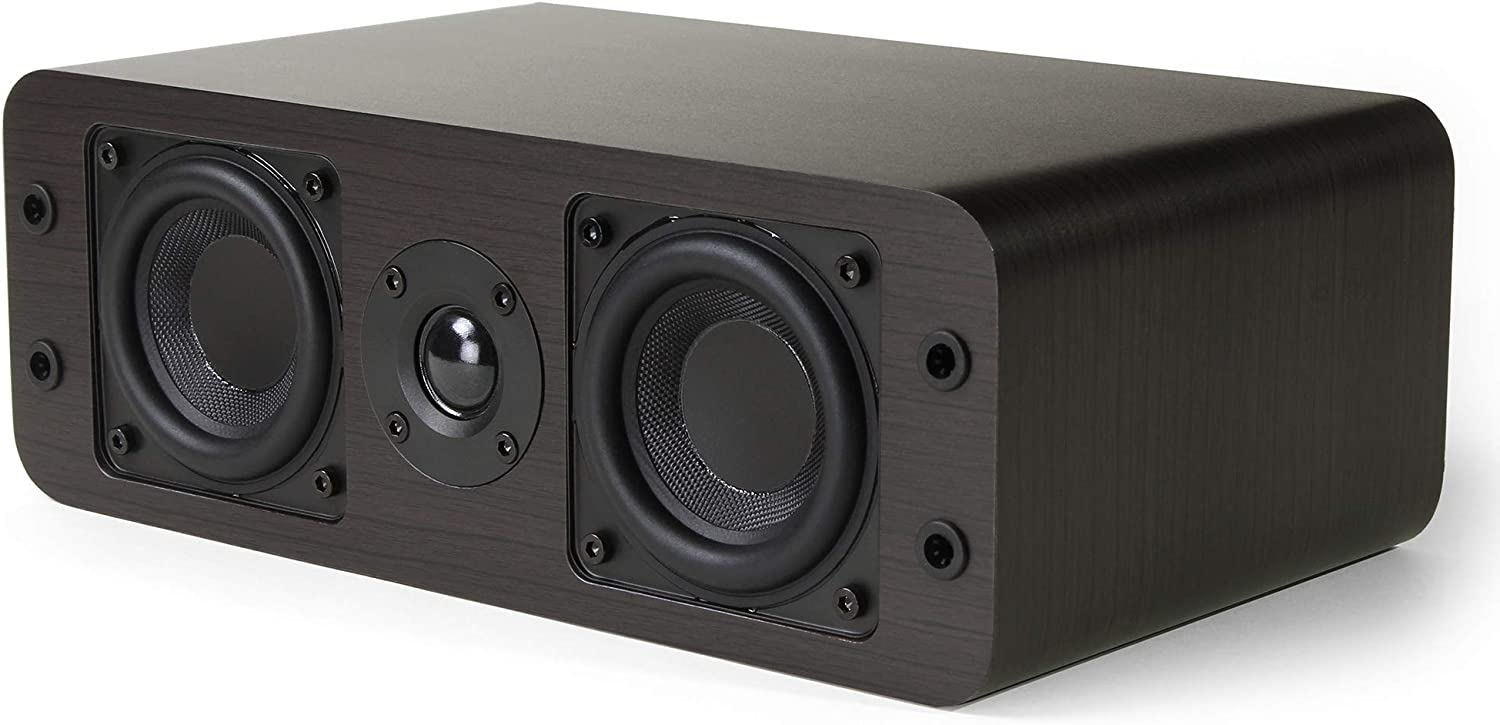 Micca OoO Center Channel Bookshelf Speaker with 3-Inch Woofers and Silk Tweeter (Dark Walnut, Each)