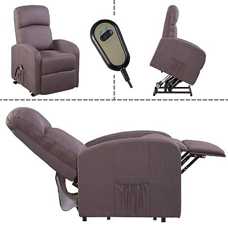 MACO Import Fernsehsessel Relaxsessel TV Sessel Aufstehhilfe Fernbedienung Mikrofaser grau-braun