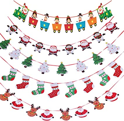 Artfen Christmas Banners Flags Hanging Bunting Garland 4 Pcs Paper Christmas Door Wall Window Hanging Decoration Ornaments Home Office Hotel Party Scene Decoration Supplies