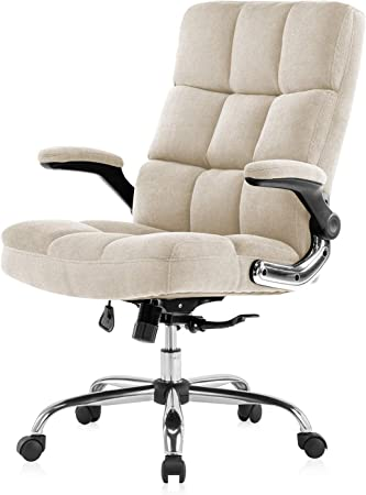 YAMASORO Chaise de bureau avec accoudoirs rabattables pour la maison, chaises d'ordinateur avec rembourrage épais pour plus de confort et de design