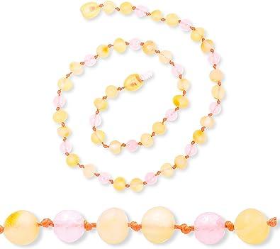couleur cognac avec des n/œuds entre les perles Collier en perles brutes non polies en ambre authentique de la Baltique Tailles de 30 /à 36 cm