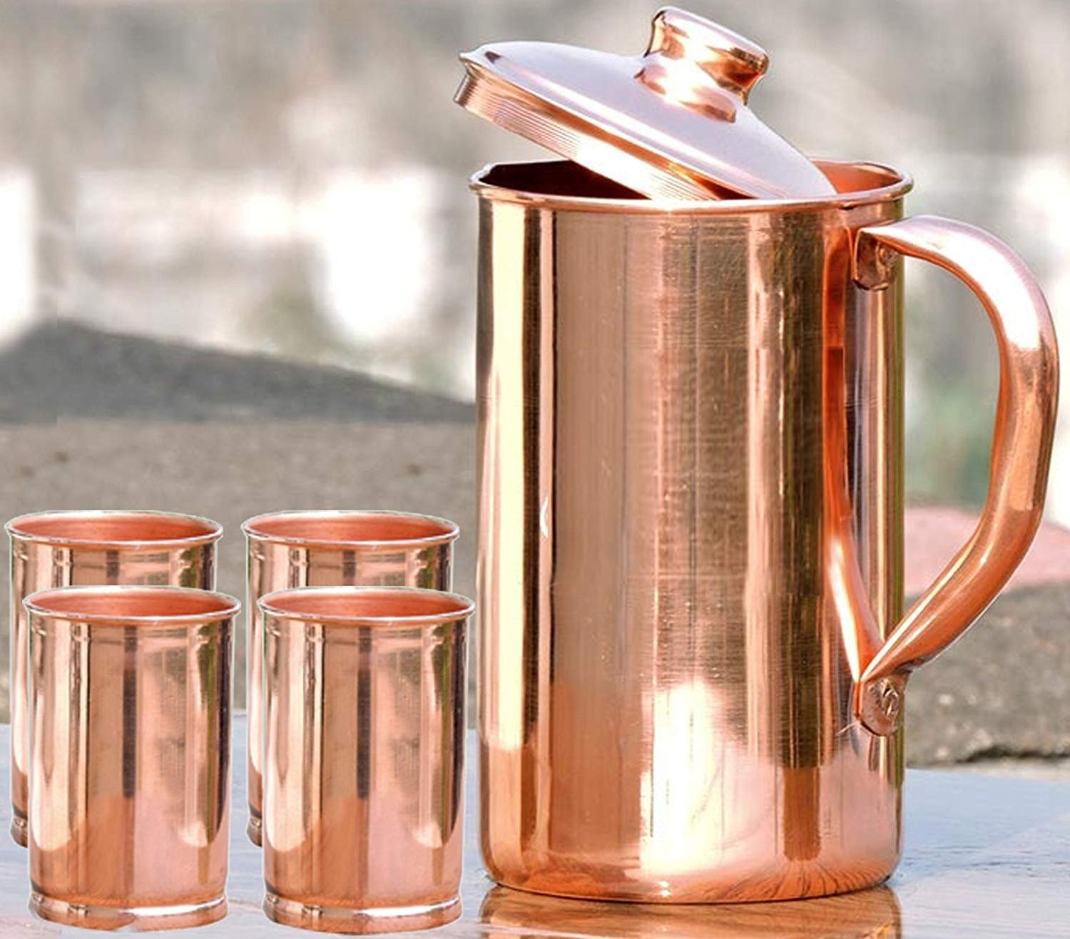 drinkware Pitcher with lid serving water jug storage copper good health benifit ayurveda carafe with handle indian treditional unbreakable home/hotel party SKAVIJ TCJ3