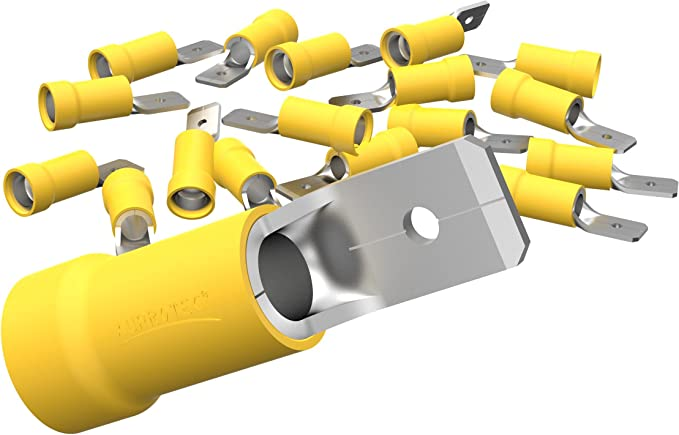 Auprotec 50x Flachstecker 4 0 6 0 Mm Gelb Elektronik