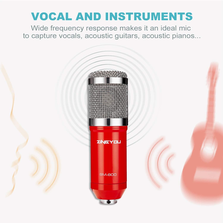 BM-800 Studio Tisch Professionell Mikrofon mit Arm St/änder/&Halter 3.5mm Rot ZINGYOU Kondensator Mikrofon Set Streaming Mic Kit f/ür Podcast,Aufnahme,PC,Gaming