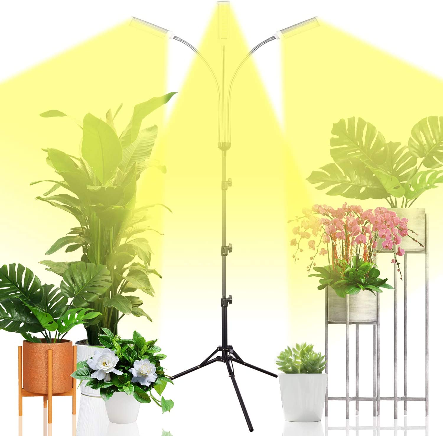 Emiral Plant Grow Light for Indoor Plants, Full Spectrum Led Grow Light with Stand, Three-Heads Floor Grow Lamp, Tripod Stand Adjustable 15-47 in,3/9/12H Timer & 3 Modes