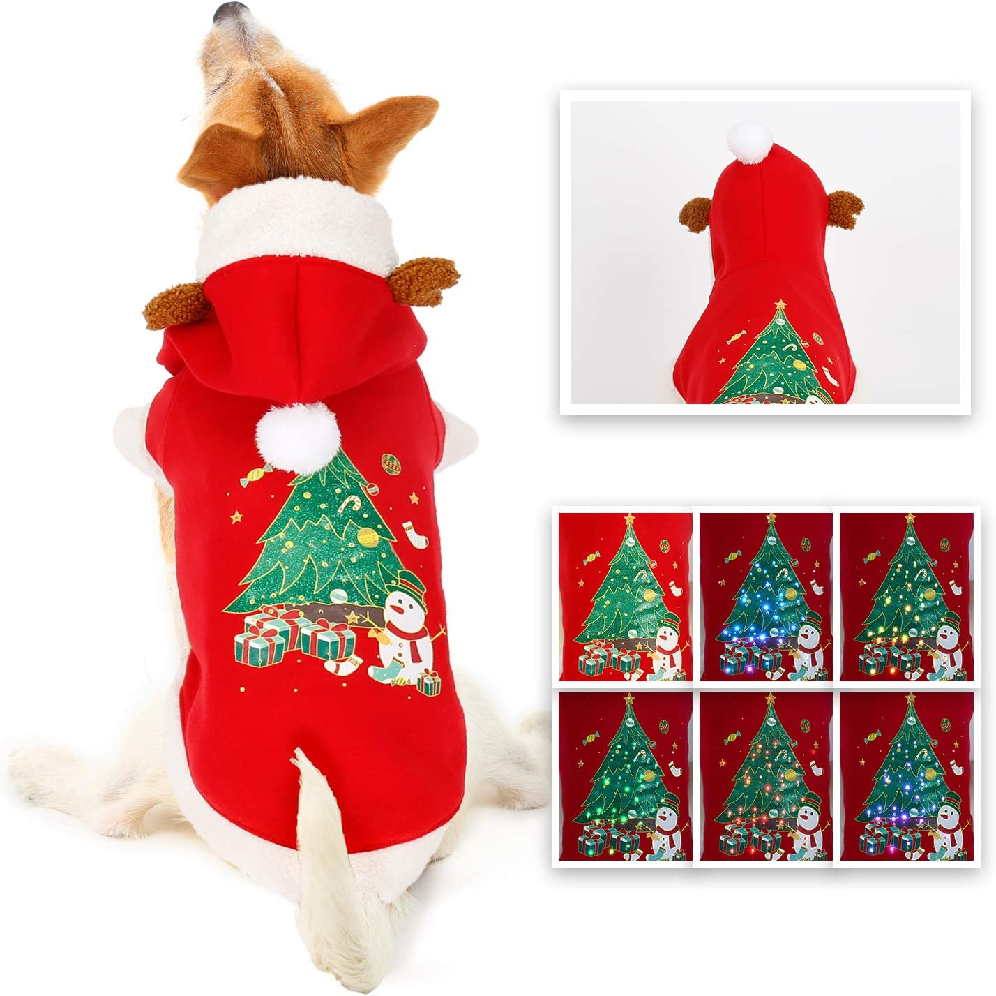 oneisall Dog Sweaters for Christmas LED Light Up Puppy Clothes Hoodie Costume Shirts Holiday Festival Party Outfit for Small Medium Large Dogs