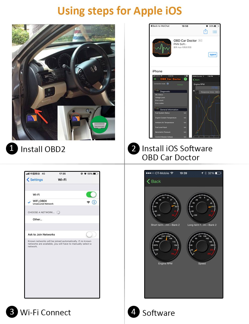 kungfuren OBD2 Scanner, [2018 NEW] Code Reader Car diagnostic Tool  Compatible With IOS, Android & Windows Devices Connects Via WiFi For Cars