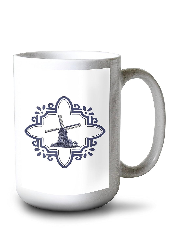 デルフト風車と境界線 15oz Mug LANT-3P-15OZ-WHT-78954 B077RSXFYD  15oz Mug