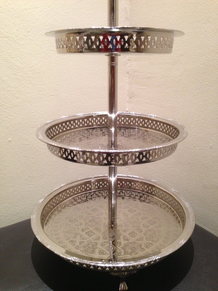 Authentic Handmade Moroccan 3 Tier Silver Plated Brass Hand hammered Cookies Tray Cake Stand Modern Design by Marrackech Decor (Image #6)
