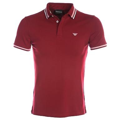 Pique Stretch Red Embroidered Amazon L Cotton Polo Emporio Armani w1qCU