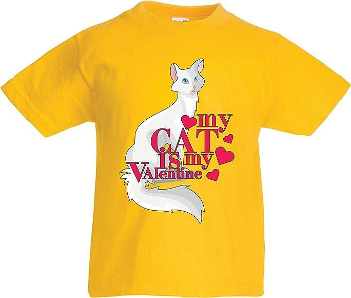 lepni.me Camiseta para Niño/Niña Mi Gato es mi San Valentín ...