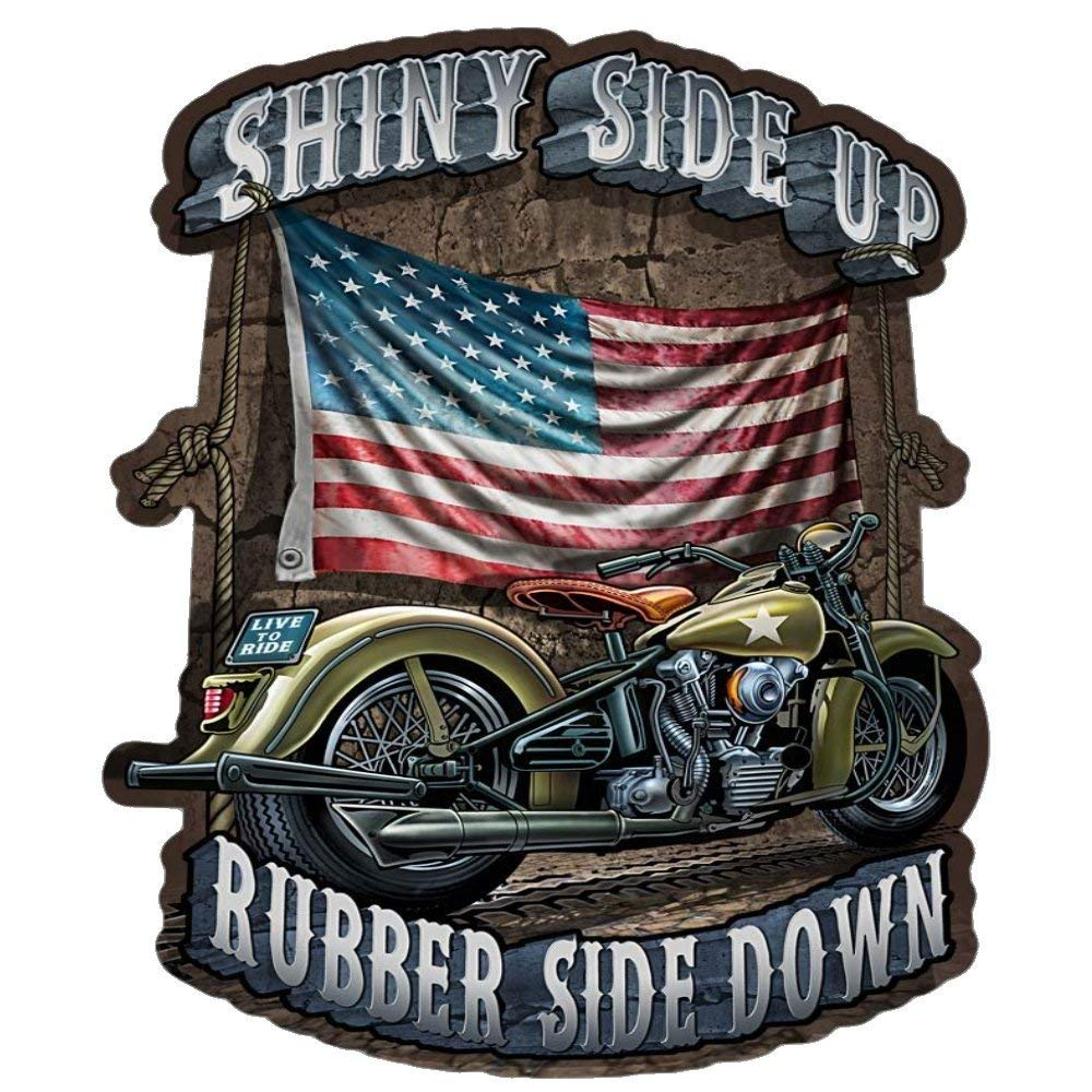 Built USA Shiny Side Up Rubber Side Down Decal | Patriotic American Flag Car Motorcycle Bicycle Skateboard Laptop Luggage Vinyl Graffiti Decals Bumper Stickers | 12'' - 5 Pack