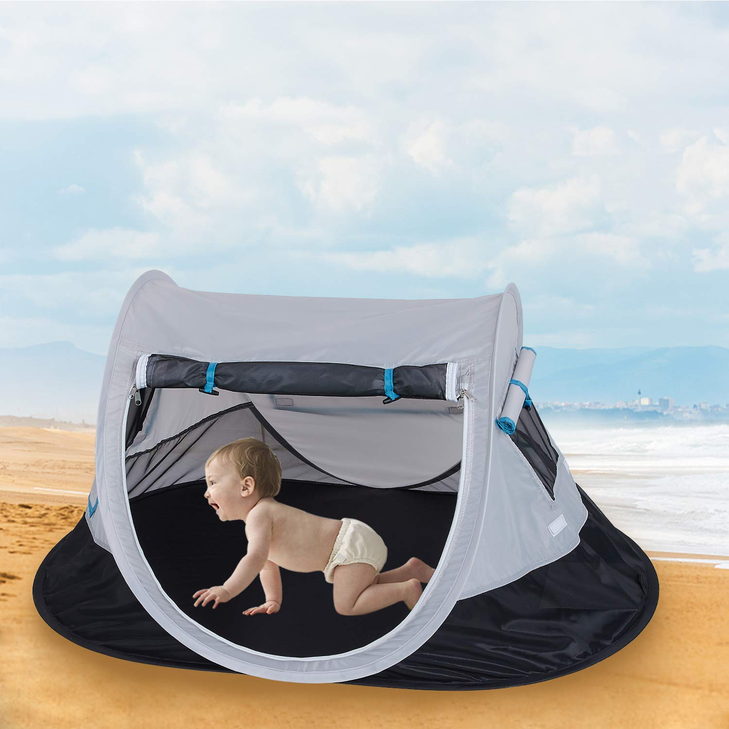 SHDIBA Portable Travel Pop up Baby Tent, Large Beach Sun Shelter Infant Tent, UPF 50+, Baby Sleep Outdoor Camping Mosquito Tent by SHDIBA (Image #4)