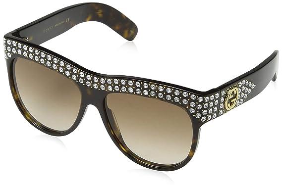 d930c6283eb Amazon.com  Gucci GG 0147 S- 002 HAVANA   BROWN Sunglasses  Clothing