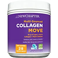 Collagen Powder, New Chapter Collagen Move, 10g Collagen Peptides (Types I, II, III), Unflavored, 28 Servings, Multi Sourced, Plant Calcium for Bone & Joint Support, Hormone Free, Gluten Free