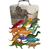 3 Bees & Me Dinosaur Toys for Boys and Girls with Storage Box - 12 Large 6 Inch Toy Dinosaurs & Case - Gift for Kids Age 3 to