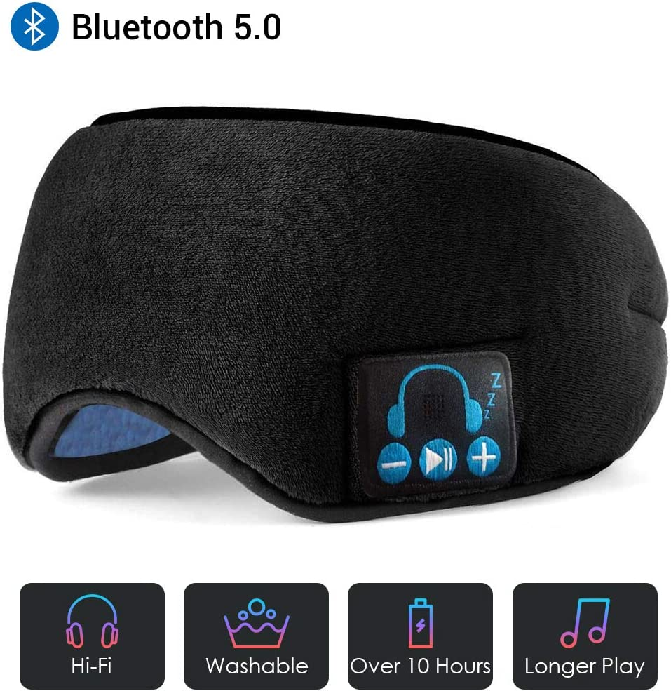Sleep Headphones Bluetooth Eye Mask, Upgrade Soft Sleeping Wireless Eye Mask with Built-in Bluetooth 5.0 Speakers Microphone,Music Eye Covers Headset with Adjustable, Washable Black