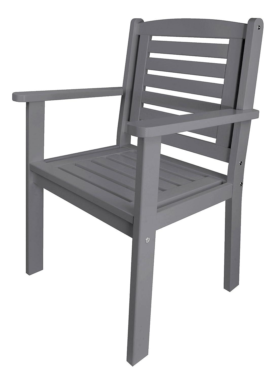 Esschert design gartenstuhl mit armlehne aus holz in grau for Gartenstuhle aus holz