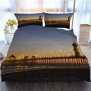 OTTOSUN Beach Bedding 3 Piece Duvet Cover Set,Huntington Beach,Home Luxury Soft Duvet Comforter Cover,King