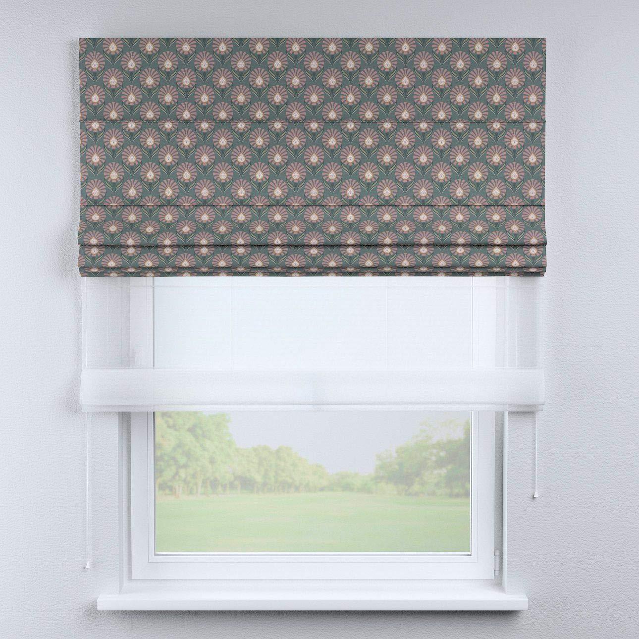 Dekoria Raffrollo Duo ohne Bohren Blickdicht Faltvorhang Raffgardine Wohnzimmer Schlafzimmer Kinderzimmer 130 × 170 cm grau-rosa Raffrollos auf Maß maßanfertigung möglich
