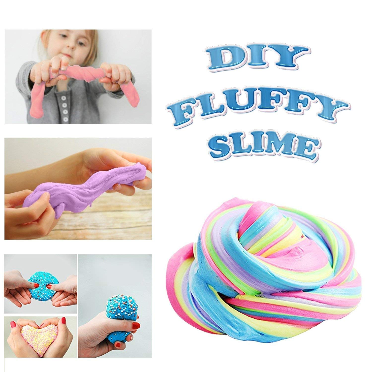 Huibudch Rainbow Slime Fluffy Slime Floam 10 OZ Slime 4 Colors Jumbo Slime Stress Relief Toy Keep Your hands Busy With 4 Colors 10 OZ( Blue Pink Green Purple)