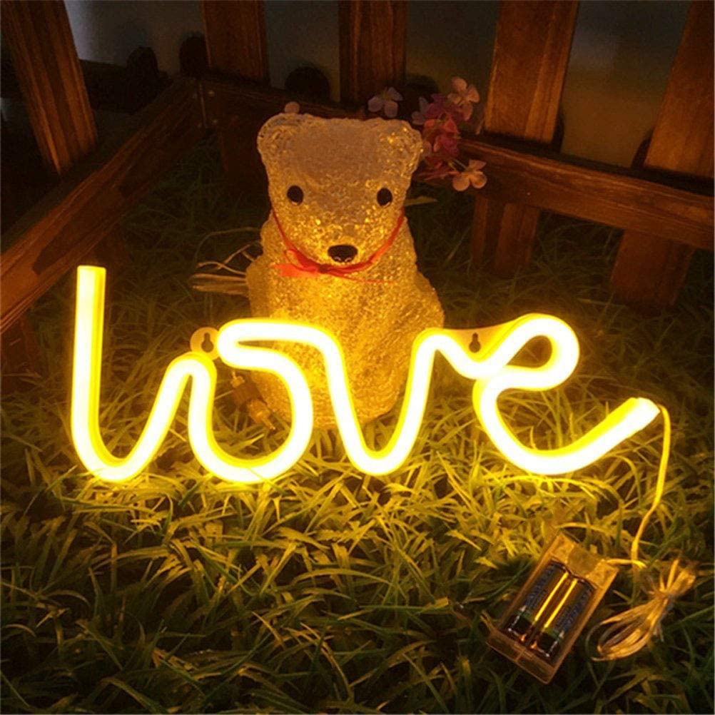 MorTime Love Neon Signs, LED Neon Light for Party Supplies, Girls Room Decoration Accessory, Table Decoration, Children Kids Gifts (Warm White)