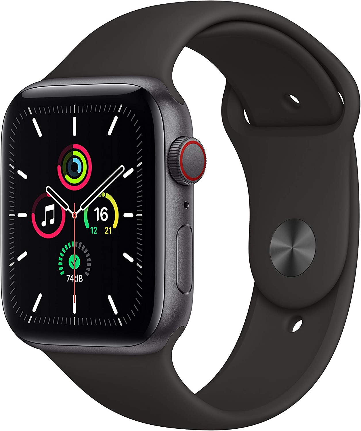 Apple Watch SE (GPS + Cellular, 44 mm) Caja de aluminio en gris espacial - Correa deportiva negra