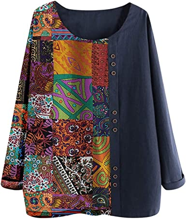 Luckycat Lino Blusa Mujer Camisa Manga Larga Sólida de Algodón Lino Camisa Blusa Mujer Verano Primavera Blusa Suelta Casual Camisetas con Botón Talla Grande: Amazon.es: Ropa y accesorios