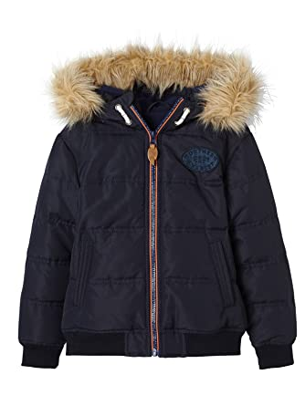aaf7a51f640bc Vertbaudet Boys' Padded Jacket with Polar Fleece Lining Blue Dark Solid  2/3Y (