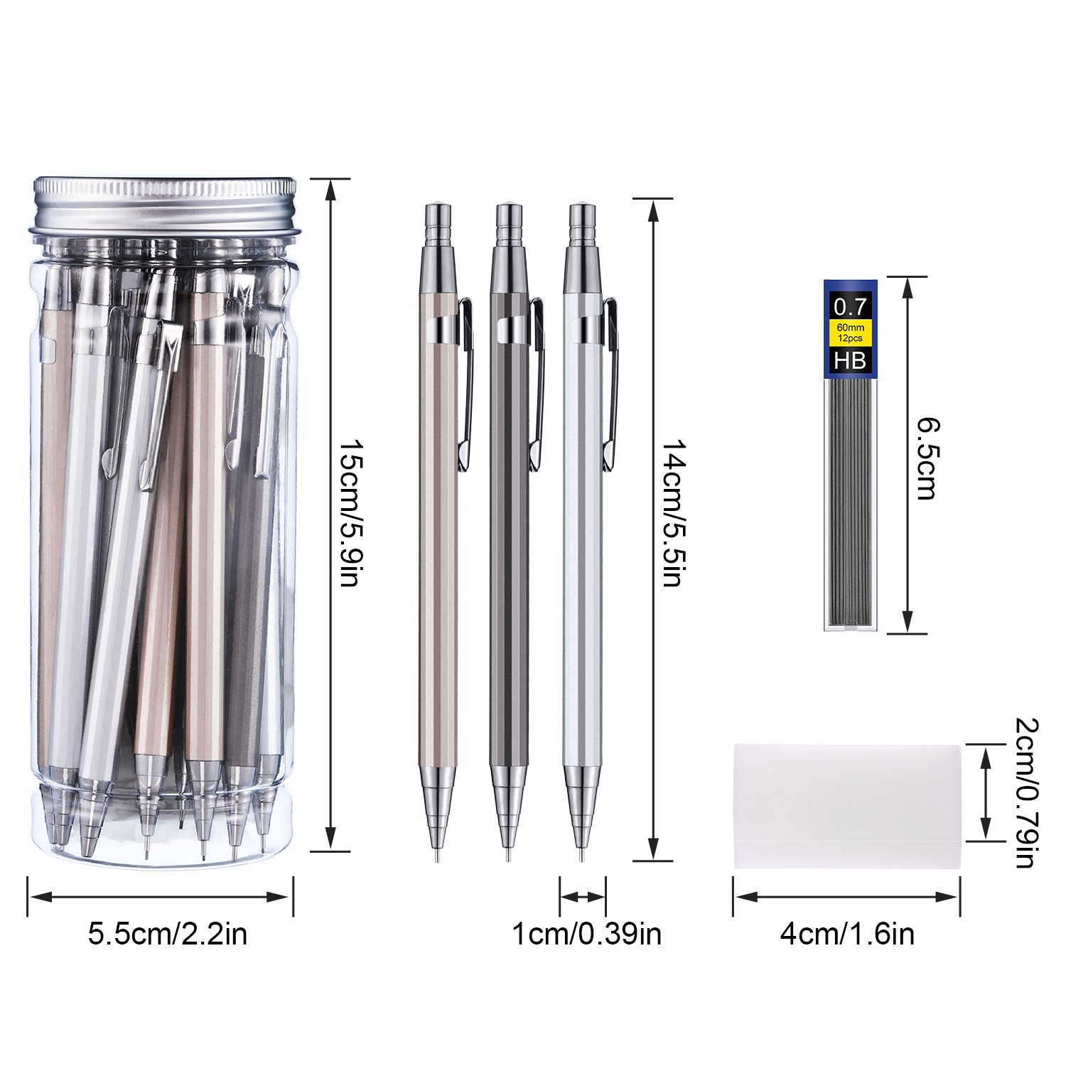 Boao 15 Pieces Metal Mechanical Pencils, 10 Tubes of Lead Refills and 3 Pieces Erasers with Clear Plastic Bottle, 0.7 mm (color set 1 0.7 mm) by Boao (Image #2)