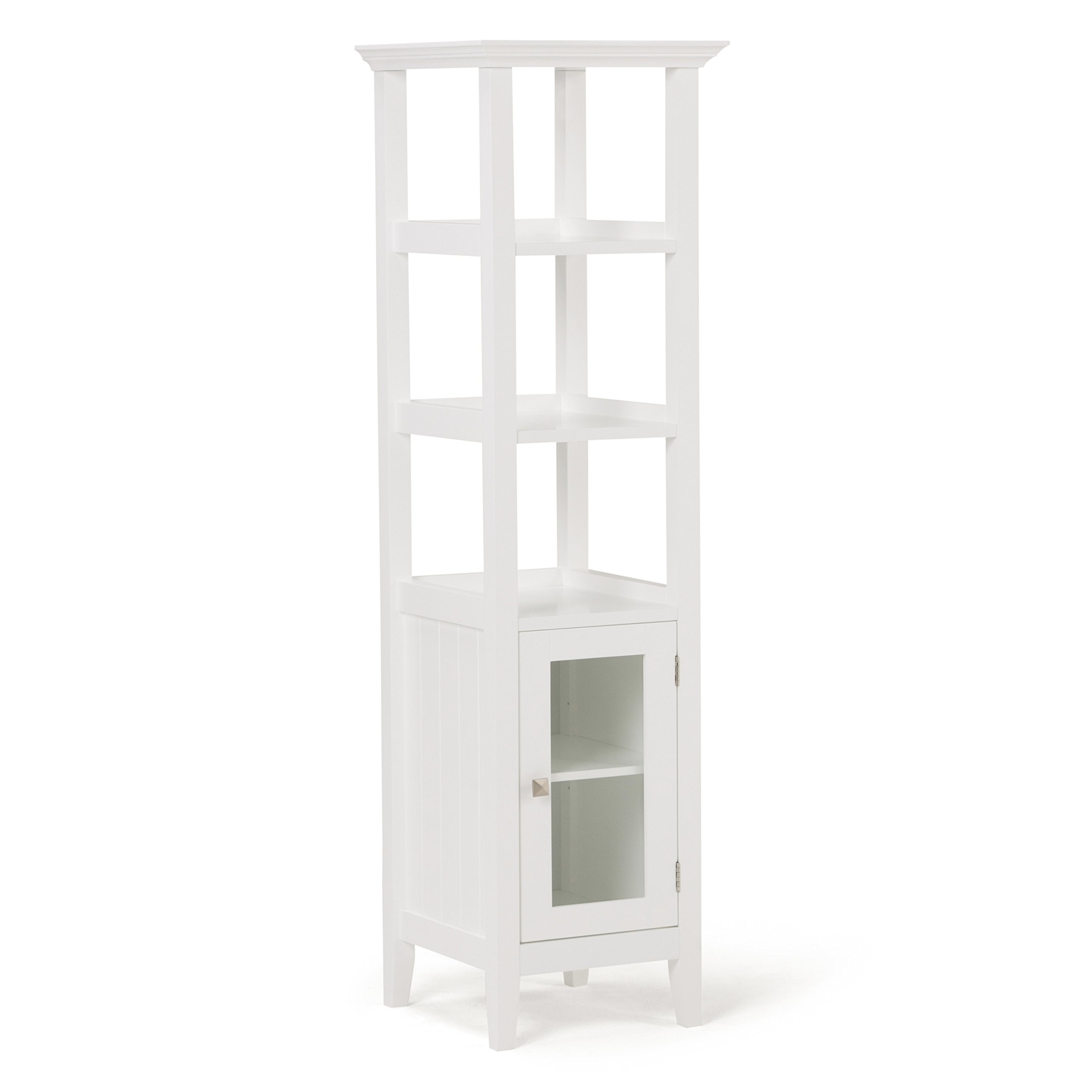 Simpli Home Acadian Bath Storage Tower, White