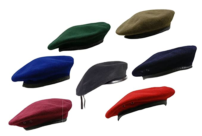 b7ff4f8925c RTC British Army Style Wool Mens Beret Hat Cap Leather Band  Amazon.co.uk   Clothing