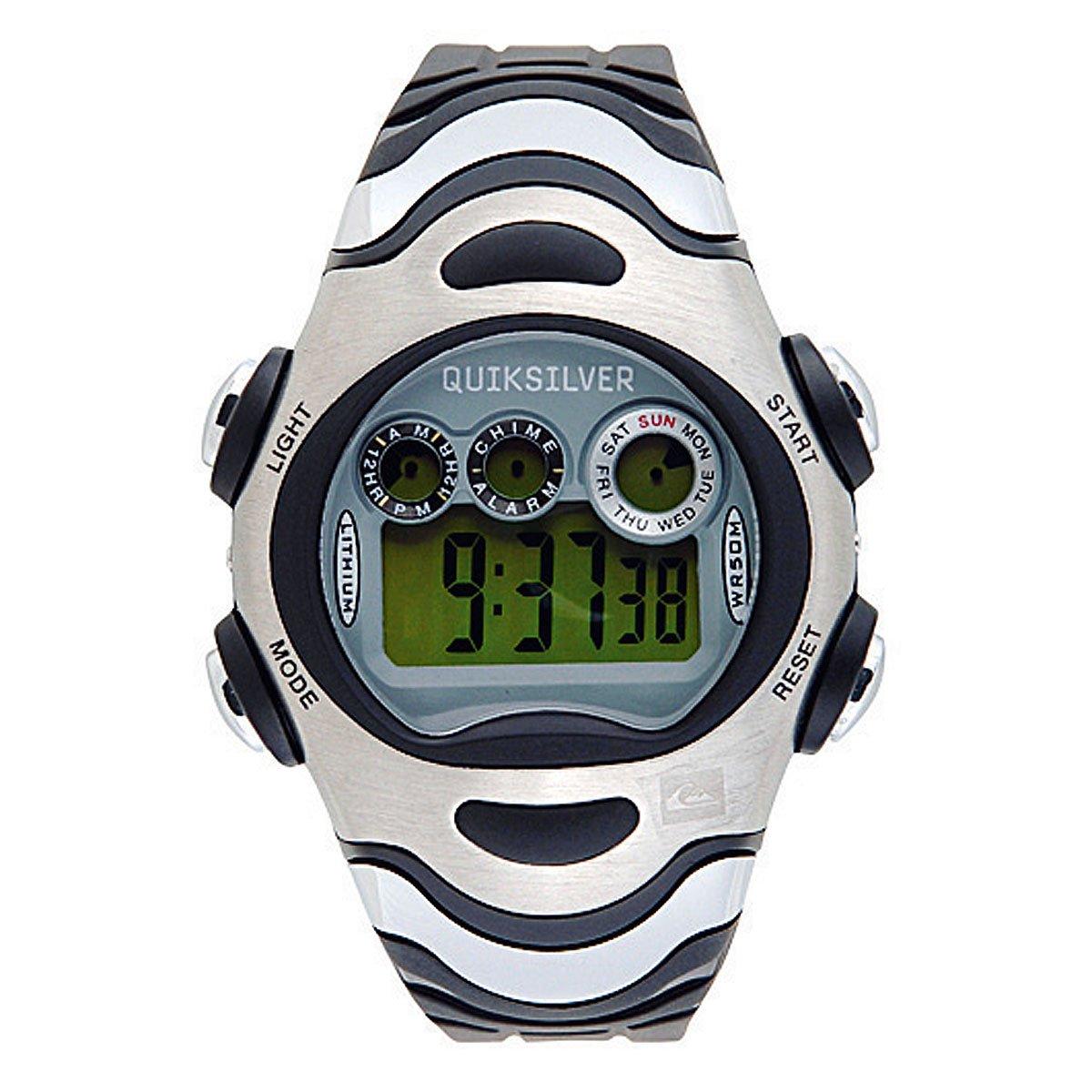 Quiksilver Y012DR 2T BLK - Reloj digital infantil de cuarzo con correa de plástico plateada (alarma, luz, cronómetro): Amazon.es: Relojes