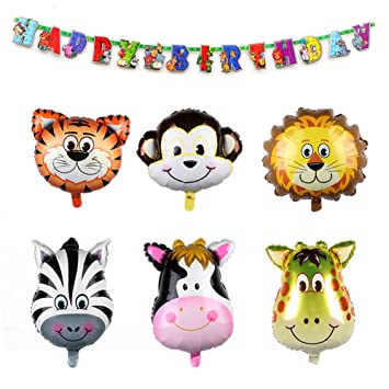 Aytai 6pcs Globos de Animales de Safari + 1pc Wild One Theme ...
