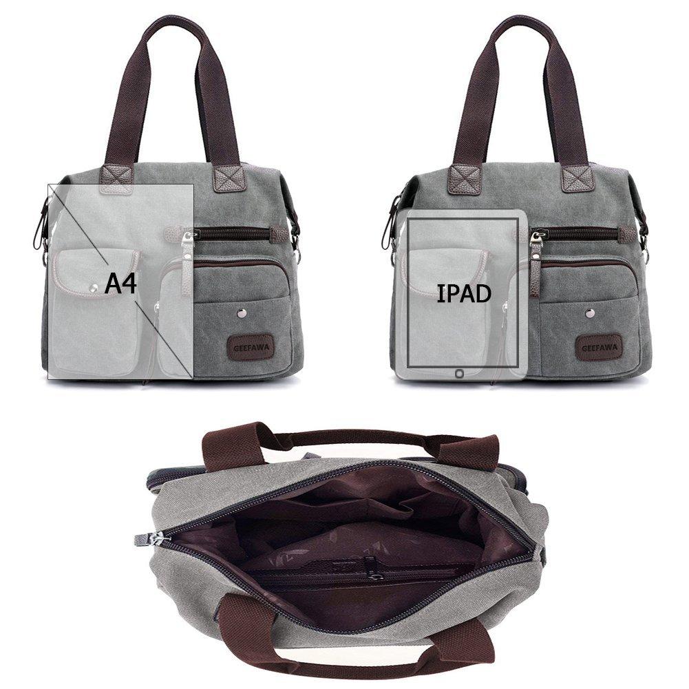 Women's Canvas Tote Bag Top Handle Bags Shoulder Handbag Tote Shopper Handbag crossbody bags (Gray) by Greatbuy-US (Image #6)