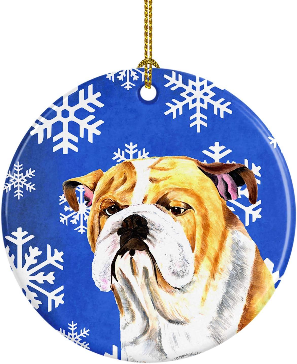 Amazon Com Caroline S Treasures Sc9374 Co1 Bulldog English Winter Snowflakes Holiday Ceramic Ornament Sc9374 3 In Multicolor Caroline S Treasures Home Kitchen