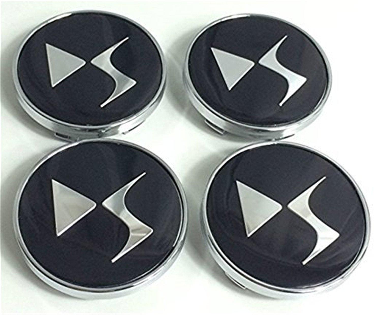Lot de 4 pour Citroen 60 mm jantes en aluminium au milieu Casquette Moyeu DS style Logo Noir Chrome Logo Badge Cover anchangzhang