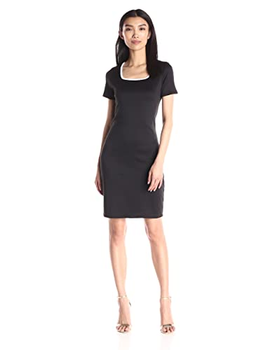 Star Vixen Women's Short Sleeve Ponte Sheath Dress with Contrast Piping