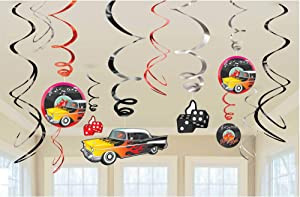 "Nifty 50's Theme Party ""Rock & Roll"" Swirl Decorations Value Pack, 12 Pieces, Foil, 3 Swirls with Paper Cutouts by Amscan"