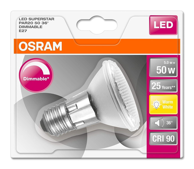 5.2 W Equivalenti 50 W Attacco E14 Confezione da 1 Pezzo Luce Calda 2700K OSRAM Spot PAR16 Lampadina LED