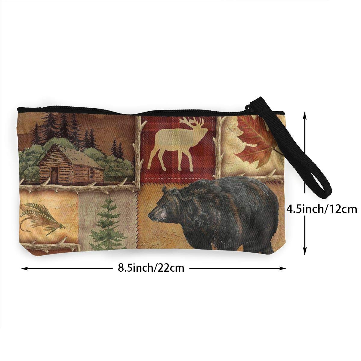 Make Up Bag,Cellphone Bag With Handle Rustic Lodge Bear Moose Deer Zipper Canvas Coin Purse Wallet