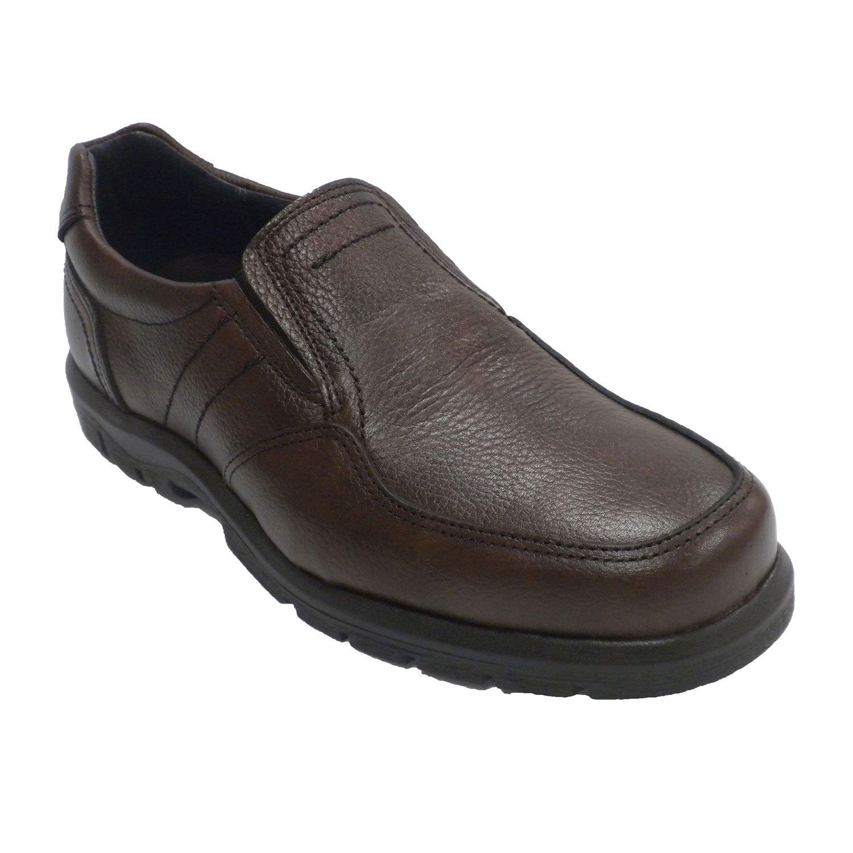 Clayan Zapato Hombre Piso de Goma Elásticos a Los Lados Piel grabada EN Marrón 41 EU