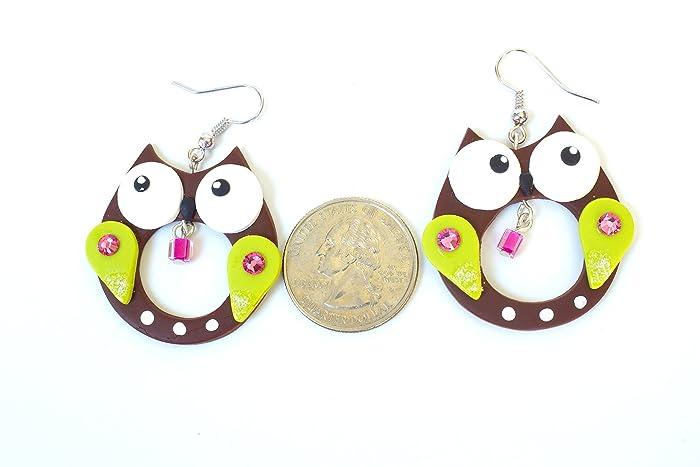 Girl Kawaii Cute Owl Earrings Kids Jewelry Childrens Jewellery Little Green Red Lightweight Polymer Clay