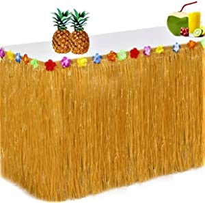 King Luau Grass Table Skirt - 9ft x 29in Luau Table Skirt | Raffia Style Fringe Party Decoration for Tiki Tropical Hawaii or Moana Themed Birthday, Graduation or Costume Party | Hawaiian Table Skirt