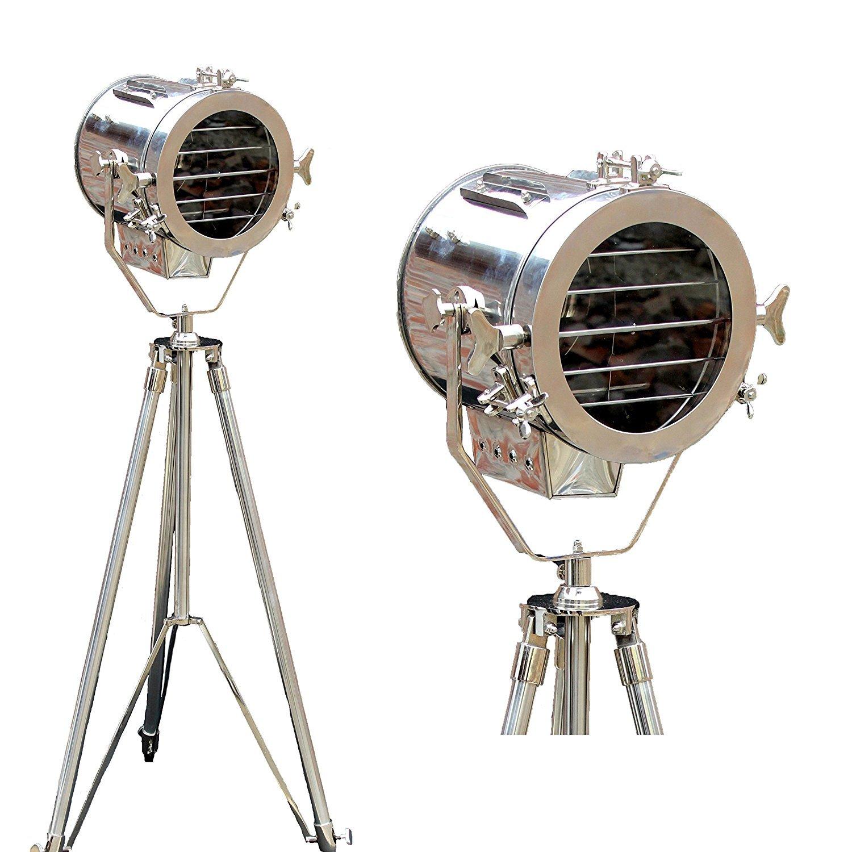 Nautical Vintage Movie Spot Light Steel Searchlight Studio Floor Lamp Tripod Chrome Finish
