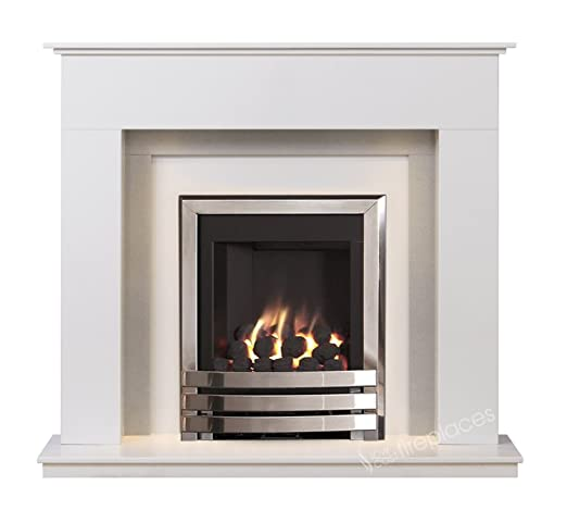 White And Grey Modern Marble Stone Fire Wall Surround Gas Fireplace